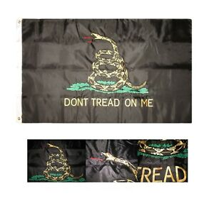 3x5 Embroidered Black Gadsden Dont Tread on me Tea Party Double Sided Nylon Flag