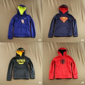 Under Armour Boy's Fleece Hoodie Sweat Shirt SupermanBatmanSpiderman L NWT