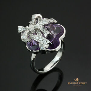 For My Dear - 18K(750) White Gold Amethyst Diamond Unique Design Ring
