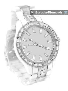 mens big white steel CZ ice out mirror dial watch metal bracelet unisex