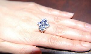 Tanzanite (Mrq), Diamond Ring in Platinum Over Sterling Silver Nickel Free