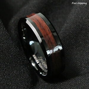 8mm Black Men's Tungsten Carbide ring Red Wood Inlay Wedding Band mens jewelry $9.99