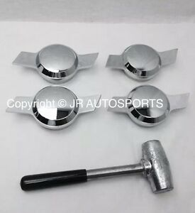2 Bar Chevy Chrome Knock Offs Spinners Lead Hammer Dayton Type Lowrider