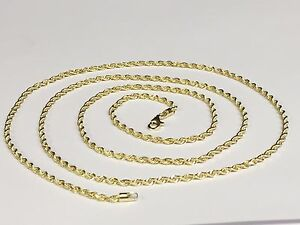 14kt SOLID Yellow Gold ROPE Pendant link ChainNecklace 18