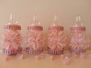 12 Pink Fillable Bottles | Baby Shower Decoration | Favors Prizes | It's a Girl
