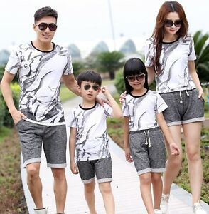 Summer Family clothes Kids children Sport Casual set White t shirt+ Gray pants