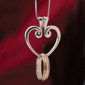 Sterling Silver Hinged Heart Ring Holder Pendant Necklace - 18