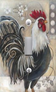 Light Switch Plate amp; Outlet Covers BLACK AND WHITE FRENCH ROOSTER