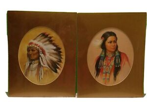 Paul Boren Native American Chief And Princess Prints Gold Mat Collectible Gift