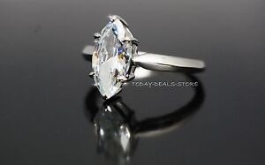 Engagement Proposal Anniversary Ring Marquise Cut Solid Real Gold 14K White