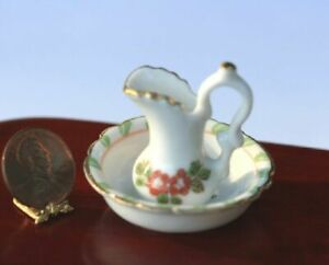 Dollhouse Miniature Washbasin and Pitcher with Green amp; Pink Design