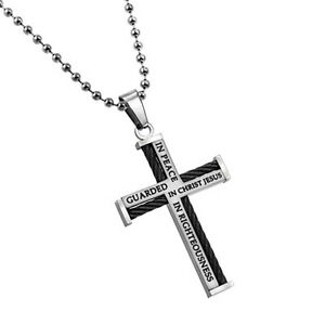 Steel Cable Cross Necklace Men Bible Verse Philippians 4:7 GUARDED Ball Chain