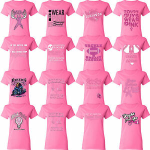 Breast Cancer Awareness Women`s PINK T-shirt Shirt Support Ribbon Survivor Tee