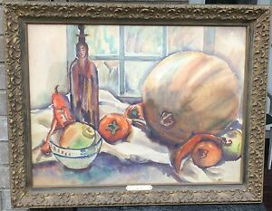 Donna Norine Schuster STILL LIFE WITH PUMPKIN Large Original Watercolor Painting