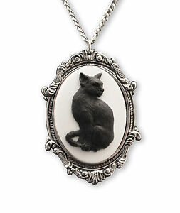 Black Cat Cameo in Antique Silver Pewter Frame Pendant Necklace NK 653 $12.99