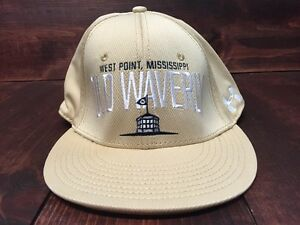 Under Armour Old Waverly West Point Flat Bill SnapBack Golf Hat Tan White OSFA