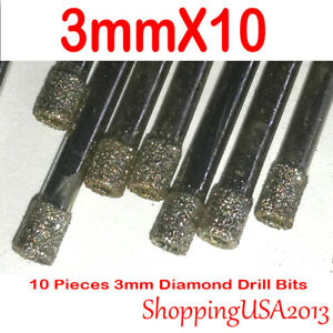 10 pcs 3mm diamond drill bit set coated hole saw glass ceramic granite marble