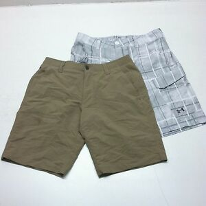 Lot of 2 Under Armour Fish Hunter Cargo Shorts Khaki Plaid Set 1244207 Size 34