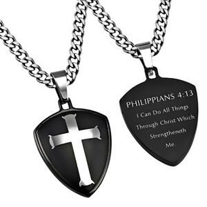 Philippians 4:13 All Thing Through Christ Necklace MEN Stainless Steel Bible