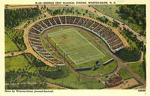 Linen Postcard Bowman Gray Memorial Stadium Winston Salem NC Football NASCAR