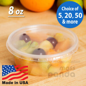 8 oz Round Deli Food Soup Storage Containers w Lids Microwavable Clear Plastic