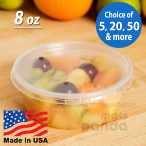 8 oz Round Deli Food/Soup Storage Containers w/ Lids Microwavable Clear Plastic
