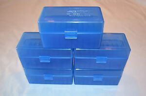 PLASTIC AMMO STORAGE BOXES (5) BLUE 50 ROUND 223  5.56 - FREE SHIPPING