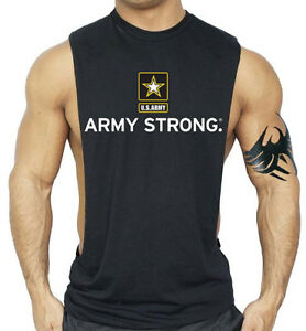 Mens US Army Strong Flag Black Workout Tank Top USA Beast Muscle Gym T Shirt $11.99