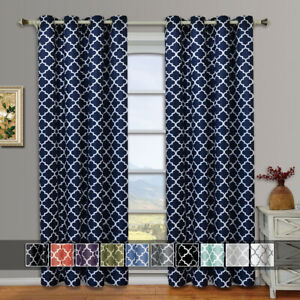 Set of 2 Panels- Meridian Thermal Insulated Room Darkening Grommet Curtains