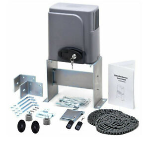 Automatic Sliding Gate Opener Kit with Photocell Sensor Chain Driveway 1400lbs