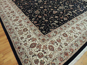 12x18 RARE size Palace oversize Striking Oriental Area Rug SILK black beige
