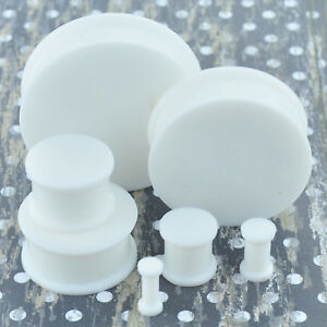 1 Pair White Soft Silicone Flexible Ear Plugs Gauges