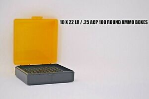 22 lr Ammo Box Case Storage (10 PACK) 1000 Rnds storage (YELLOW COLOR)