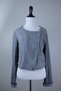 bar III Tweed style Soft Midriff Jacket Gray Black White Coloring Medium