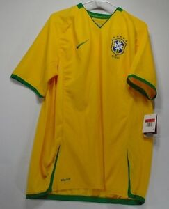 New Mens NIKE Fit Dry Brazil Brasil Soccer Futbol Yellow Shirt Jersey 265656 705