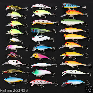 USA Lot 30 pcs Kinds of Fishing Lures Poper Crankbaits Hooks Minnow Baits Tackle