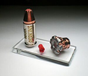 9mm Hornady Critical Duty 135 grain Fired Expanded Bullet and Engraved Display