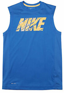 New Nike Boys Dri-Fit Hyperspeed Sleeveless Training Shirt 694394 418 Blue LXL