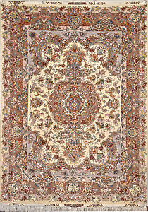 Fine Khatibi design silk base Persian Rug Warm Color 5x7 Floral Medallion