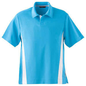 North End Sport Red Men's New Wicking Polyester Stripe Pique Polo Shirt. 88616