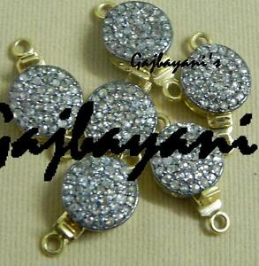 DIAMOND STUDDED 925 STERLING SILVER 6 PC. OF ROUND BEADING BOX CLASP