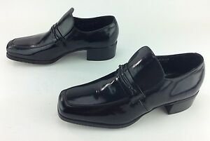Men's Florsheim Designer Collection Black Leather Slip-on Retro Dress Shoes