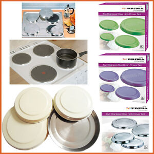 4 x Hob Cover Plates Stainless Steel Solid Colours Metal Electric Ring Protector