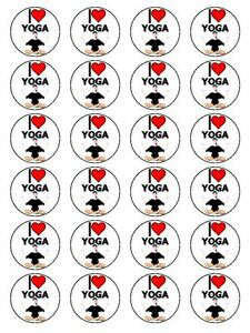 x24 1.5quot; I Love Yoga Breathing Meditation Exercise Cupcake Topper On Rice Paper