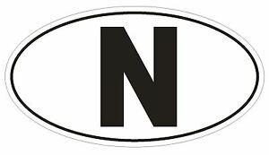 N Norway Country Code Oval Bumper Sticker or Helmet Sticker D958 Norwegian