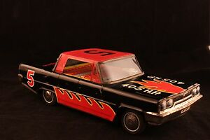 1963 ford friction tin toy race car 4 door 13 5