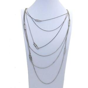 Long Layered Necklace Ball Chain Silver Plated Pewter 6 Strands Costume Jewelry