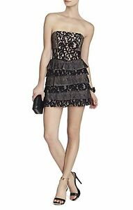 NEW BCBG MAX AZRIA BLACK ELLIE MIXED LACE STRAPLESS DRESS EUP61A29M868A SZ 10