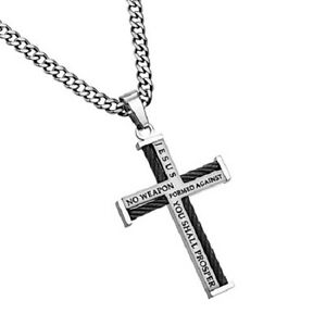 Cable Cross Necklace for Men Bible Verse Isaiah 54:17 NO WEAPON Curb Chain