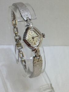 10K WHITE GOLD  BULOVA M4 SWISS WOMENS VINTAGE WIND WATCH w MESH BRACELET CLEAN